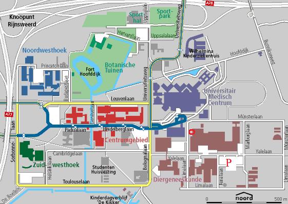Plattegrond van de Uithof met informatie voor het symposium